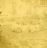 France Fantaisie Enfants Au Jardin Ancienne Photo Stereo 1870 - Stereoscopic