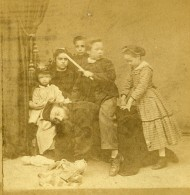 France Fantaisie Pere Et Enfants A Califourchon Poupees Ancienne Photo Stereo 1870 - Stereoscopic