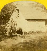 France Fantaisie à La Campagne Echelle Grange Ancienne Photo Stereo 1860 - Stereoscopic