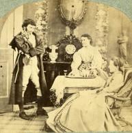 Angleterre Heure Du Thé Et Du Whisky Fantaisie Scene De Genre Ancienne Photo Stereo 1860 - Stereoscopic