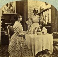 Angleterre Scene De Genre Fantaisie Seaside Inconveniences Ancienne Photo Stereo 1860 - Stereoscopic