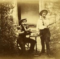 France Fantaisie 2 Hommes En Uniforme De Marins Scene De Genre Ancienne Photo Stereo 1860 - Stereoscopic