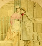 Grande Bretagne Baiser Du Laitier Scene De Genre Ancienne Photo Stereo 1860 - Stereoscopic