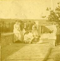 France Fantaisie Groupe Famille Sur Une Terrasse Exterieur Ancienne Photo Stereo 1860's - Stereoscopic