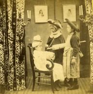France Fantaisie Enfants Le Médecin Et Son Clystere Ancienne Photo Stereo 1860's - Stereoscopic