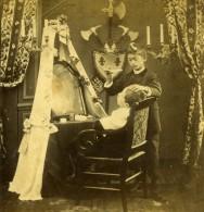 France Fantaisie Scene De Genre Enfants Le Barbier Ancienne Photo Stereo 1860's - Stereoscopic