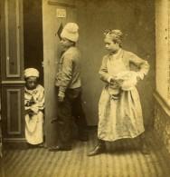 France Fantaisie Scene De Genre Enfants L'Indiscret Ancienne Photo Stereo 1860's - Stereoscopic