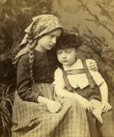 Allemagne Jeunes Enfants Costumes Regionaux Ancienne Photo Stereo Sophus Williams 1880 - Stereoscopic