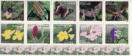 2003 El Salvador Insects And Flowers Butterflies  Complete Block Of 10 + Souvenir Sheet MNH - El Salvador