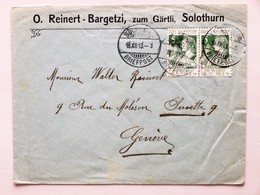 SUISSE / SCHWEIZ / SWITZERLAND // 1913, Firmen Brief, Mit 2x 5 Rp. PRO JUVENTUTE 1913, SOLOTHURN 18.XII.13 => GENÈVE - Pro Juventute