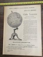 FLYERS ENCART FEUILLET PUBLICITAIRE 1900 LIBRAIRIE LEBEGUE GLOBE TERRESTRE - Collections
