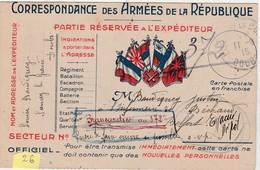 26 Carte Postale FM Franchise Militaire / 6 Drapeaux Au Centre + écusson / Infirmerie Brancardier Belfort - 1914-18