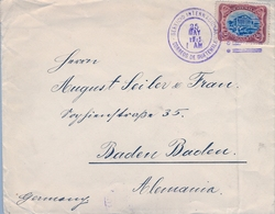 1915 , GUATEMALA , BONITO SOBRE CIRCULADO A BADEN - BADEN , MAT. AZUL DEL SERVICIO INTERNACIONAL , FR. TEATRO COLÓN - Guatemala