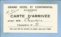 Ajaccio (20) Grand Hôtel Et Continental Carte D'Arrivée Pour M. Chauvain Chambre N°51 - 2 Scans - Sports & Tourisme