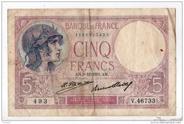 """FRANCE . 5 FRANCS . TYPE """" VIOLET """" 03-12-1931 - Réf. N°10971 - - 1871-1952 Antiguos Francos Circulantes En El XX Siglo"""