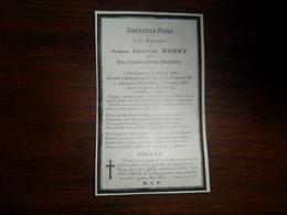 SOUVENIR PIEUX / Mme  A. DORET  NEE D.D.A  HAUZEUR / VERVIERS 1806  1877 - Avvisi Di Necrologio