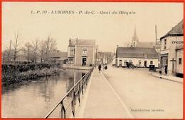 """CPA 62 LUMBRES - Quai Du Bléquin (on Aperçoit Au Fond L' Estaminet """"Blanche Boule"""" - HIBON-DUBART) - Lumbres"""