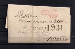 """1843 PARIS, CARTA COMPLETA CIRCULADA A CÁCERES , FECHADOR """" BUREAU CENTRAL """", MARCA P.P. Y PORTEO, BAEZA EN ROJO - 1801-1848: Precursores XIX"""