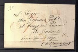 """1845 PARIS, CARTA A ARROYO DEL PUERCO - CÁCERES , FECHADOR """" BUREAU CENTRAL """", MARCA P.P. Y PORTEO - 1801-1848: Precursores XIX"""