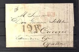 "1840  PARIS, CARTA COMPLETA CIRCULADA A CÁCERES , FECHADOR "" BUREAU CENTRAL  "", MARCA P.P. Y PORTEO - 1801-1848: Precursores XIX"