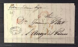 """1840  PARIS, CARTA A ARROYO DEL PUERCO - CÁCERES , FECHADOR """" BUREAU CENTRAL  """", MARCA P.P. Y PORTEO - 1801-1848: Precursores XIX"""