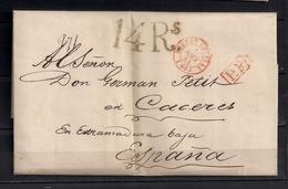"1844  PARIS, CARTA A CÁCERES , FECHADOR "" BUREAU CENTRAL  "", MARCA P.P. Y PORTEO - 1801-1848: Precursores XIX"