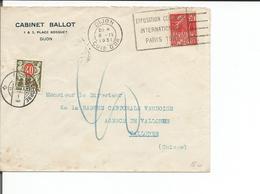 France 21, Lettre Cabinet Ballot Dijon - Vallorbe Suisse + Timbres Taxe Suisse 40ct (9.4.1931) - Brieven En Documenten