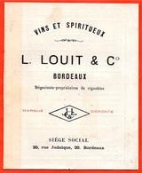 Petit Catalogue Tarif L. LOUIT & Cie Vins Et Spiritueux 33 BORDEAUX * Vin Wine Grands Crus - France