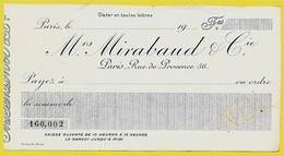 Lettre De Change Specimen (perforée NUL) Mrs MIRABAUD & Cie 75009 PARIS Rue De Provence - Bills Of Exchange