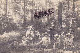 CARTE PHOTO,33,GIRONDE,BELIN,1912,HABITANTS DE L 'EPOQUE,PROMENADE DANS LES BOIS,ET CUEILLETTE DE CHAMPIGNONS,RARE - Francia