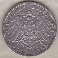 Allemagne Prusse . 3 Mark 1914 A Berlin . Wilhelm II , En Argent . KM# 538 - 2, 3 & 5 Mark Silver