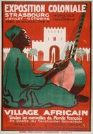 France Exposition Postcard Strasbourg Coloniale 1920 Village Africaine - Reproduction - Pubblicitari