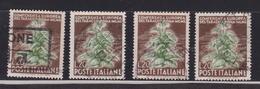 1950 Italia Italy Repubblica TABACCO  TOBACCO 4 Valori 20 Lire Usati USED - Tabacco