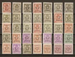 Belgique 1939/65 - Préoblitérés - Petit Sceau De L'Etat - Chiffre Sur Lion Héraldique - Petit Lot De 60 - Timbres