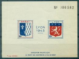 FRANCE LIBERATION BF LYON / BREST 1943 N Xx Pour Les Sinistrés Cote Mayer : 150 € TB RARE - Libération