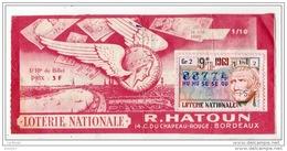 FRANCE . LOTERIE NATIONALE . R. HATOUN . 14, C. DU CHAPEAU-ROUGE . BORDEAUX 1969 - Réf. N°4899 - - Lottery Tickets
