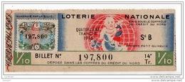 FRANCE . LOTERIE NATIONALE . DIXIÈME PETIT QUINQUIN . ÉMIS SOUS LE CONTRÔLE DU CRÉDIT DU NORD 1946 - Réf. N°4901 - - Lottery Tickets
