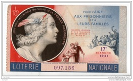 FRANCE . LOTERIE NATIONALE . POUR L'AIDE AUX PRISONNIERS ET LEURS FAMILLES 1941 - Réf. N°4888 - - Lottery Tickets