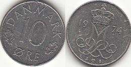Danimarca 10 Øre 1974 (S ♥ B) KM#860.1 - Used - Denmark