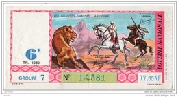 FRANCE . LOTERIE NATIONALE . LES GRANDES CHASSES ABYSSINIE 1960 - Réf. N°4894 - - Lottery Tickets