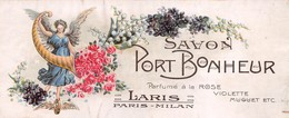 """08573 """"PARIS-MILAN - LARIS - SAVON PORT BONHEUR - PARFUME A LA ROSE-VIOLETTE-MUGUET""""  DEA.  1920. ETICHETTA ORIG. - Etichette"""