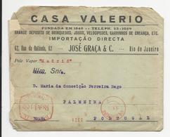 Cover * Brazil * 1935 * Registered???? * Machine Stamp * Casa Valerio * Rio De Janeiro * Pelo Vapor ''Madrid'' - Brazil