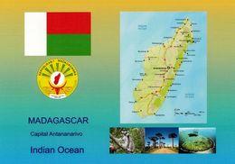 1 AK Madagaskar * Flagge, Wappen, Landkarte Und 3 Ansichten Von Madagaskar  * - Madagaskar