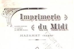 IMPRIMERIE Du MIDI   MAZAMET (Tarn)  1910 - Bills Of Exchange