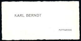 B7297 - Mittweida - Karl Berndt  - Visitenkarte - Visitenkarten
