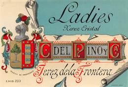 "08574 ""LADIES - KEREZ ERISTAL -JEREZ DE LA FRONTERA - C DEL RINO Y C. - CRISTALLI"" XX SECOLO. ETICHETTA ORIG. - Adesivi"