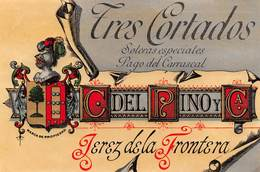 "08575 ""TRES CORTADOS - JEREZ DE LA FRONTERA - C DEL RINO Y C. - CRISTALLI"" XX SECOLO. ETICHETTA ORIG. - Adesivi"