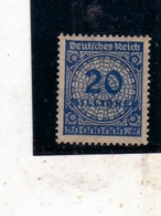 GERMANY GERMANIA GERMAN REICH EMPIRE IMPERO 1923 NUMERAL CIFRA 20mil MH - Germania