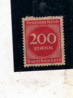 GERMANY GERMANIA GERMAN REICH EMPIRE IMPERO 1922 1923 NUMERAL CIFRA 200m MH - Germania