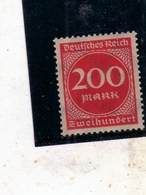 GERMANY GERMANIA GERMAN REICH EMPIRE IMPERO 1922 1923 NUMERAL CIFRA 200m MNH - Germania